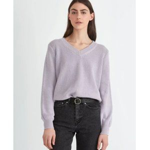 NWOT Frank and Oak Small Lilac Purple Ribbed Cotton V-Neck Pullover Sweater New